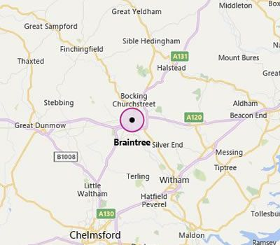 map showing Chelmsford and the areas we cover